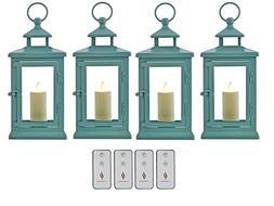 "Set of 4 Luminara 11"" Hudson Lanterns with Flameless Candles"