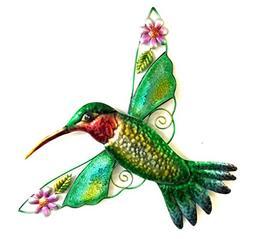 Bejeweled Display Hummingbird w/ Glass Wall Art Plaque & Hom