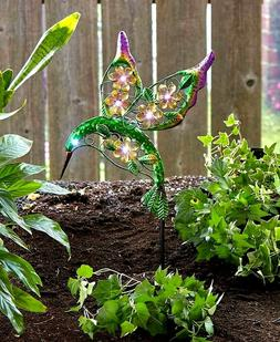 hummingbird colorful solar lighted garden stake garden