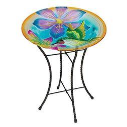 "Regal Art & Gift Hummingbird Glow Birdbath , 18"""