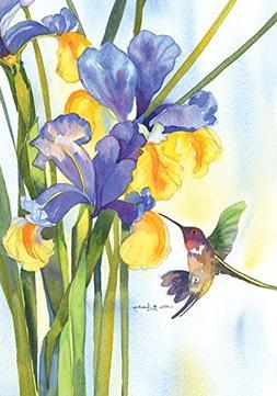 Toland Home Garden Hummingbird and Iris 12.5 x 18 Inch Decor