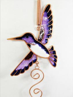 Hummingbird Mini Wind Chime Metal With Glass Yard & Garden D