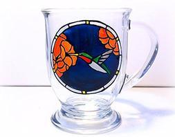 Hummingbird Mug, Hand Painted Glass