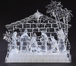 """9.5"""" Icy Crystal LED Lighted Holy Family in Stable Christmas"""