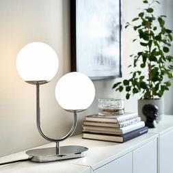 Ikea SIMRISHAMN Table Lamp Modern Chrome Plated/Opal Glass 1