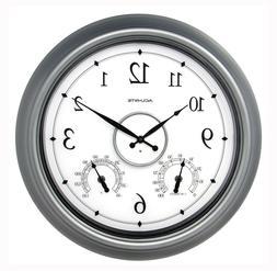 """AcuRite 75455M LED Illuminated Pewter Outdoor Clock, 18"""""""