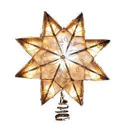 Kurt Adler Indoor 10 Light 8-Point Capiz Star Treetop with A