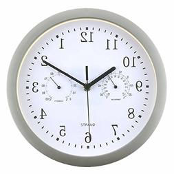 Foxtop Silent Non-ticking Wall Clock with Temperature & Humi