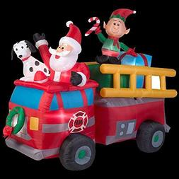 Inflatable Christmas Santa Fire Truck Scene Lighted Holiday