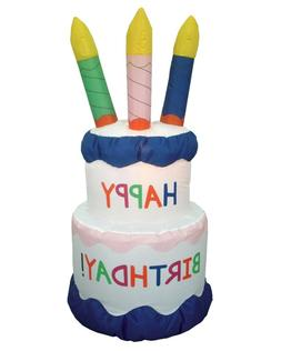 6 Foot Inflatable Happy Birthday Cake with Candles Yard Deco