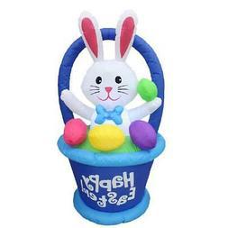 Inflatable Outdoor Easter Bunny Egg Basket Decoration Yard L