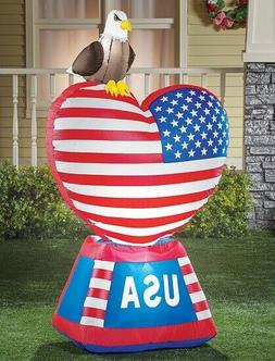 Inflatable Patriotic Heart Flag USA Eagle Statue 4th of July
