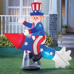Inflatable Patriotic Uncle Sam on Rocket Statue 4th of July