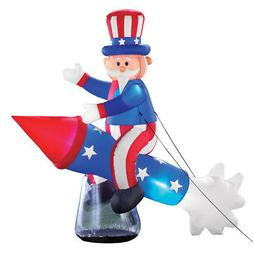 Collections Etc Inflatable Patriotic Uncle Sam on Rocket