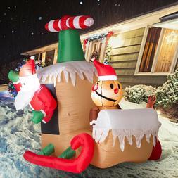 Inflatable Santa Claus Sleigh LED Lighted Airblown Christmas