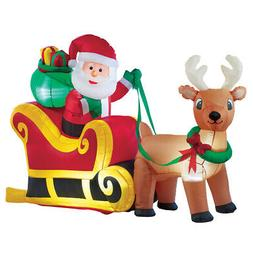 Collections Etc Inflatable Santa Sleigh Outdoor Winter Decor
