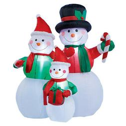 Collections Etc Inflatable Snowman Family Outdoor Winter Dec