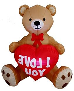 Inflatable Teddy Bear w/ Love Heart Yard Blow Up Decor for V