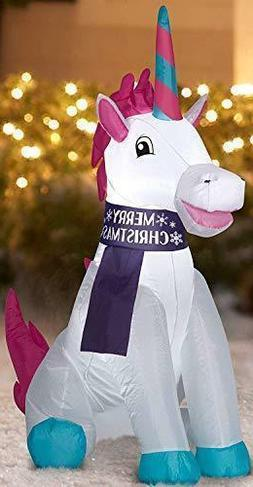 Holiday Time Inflatable Unicorn 3.5 Feet Tall Outdoor Merry