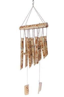 Inspirational Bamboo Wind Chime - Light Brown Indoor Outdoor