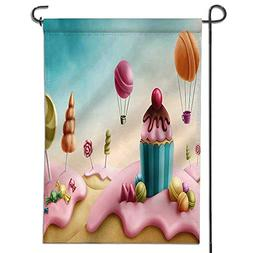 Inspirational Garden Flag Decor Fantasy Candyland with Cupca
