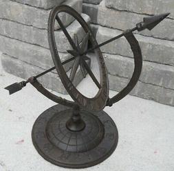 Iron Armillary Sundial with Arrow, New