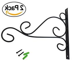 Huouo Set of 2 Iron Wall Hooks for Planters, Bird Feeders, L