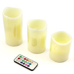 New Set of 3 LED Ivory Color Flameless Candles with Remote C