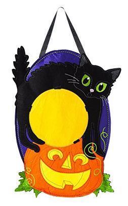 Evergreen Jack-O-Lantern Cat Monogram Outdoor Safe Felt Door