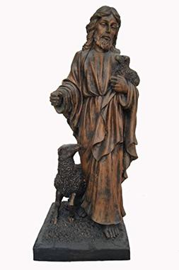 """14"""" Jesus Bronzed Statue By Resin"""
