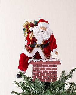 Jolly Saint Nick Santa on Chimney Tree Topper by Balsam Hill