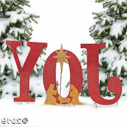 Joy Yard Sign Nativity Christmas Decorations Holiday Xmas De