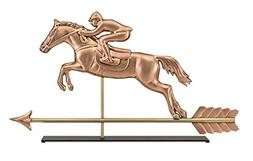 Good Directions Jumping Horse & Rider Pure Copper Weathervan