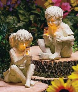Kids BOY or GIRL Solar Lighted Fireflies in Jar Statue Lawn