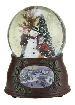 "5"" 100mm Kids/Snowman Dome W/Wood Look Base Plays Winter Won"