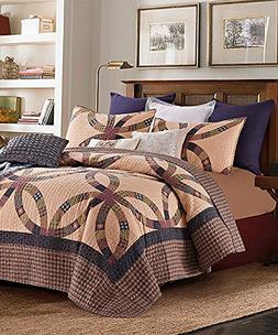 3 Piece King Size Country Primitive Wedding Ring Quilt Set