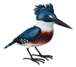 Kingfisher Bird Replica Metal Yard Decor, hand painted, w/ l