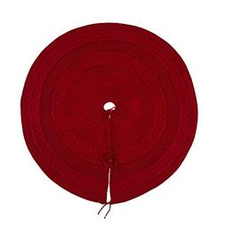 Glitzhome Knited Acrylic Christmas Tree Skirt-Red for Xmas D