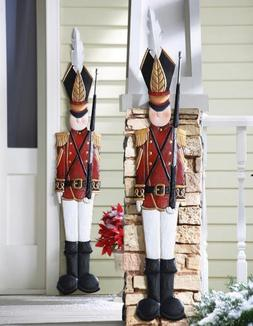 KNLSTORE Set of 2 Christmas Holiday Metal Toy Soldiers Nutcr