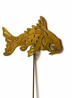 Koi Fish Rust Metal Garden Decor Yard Stake Art Gift for Gar