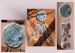 Kokopelli Pottery Wind Chime Turquoise Ceramic Clay Mobile N