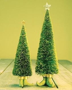 Set of 2 Patience Brewster Krinkles Sisal Elf Christmas Tree