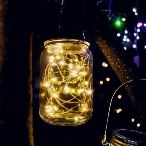 20 Solar Mason Jar Lid Lights String Hanging