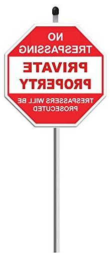 "1 Private Property Sign on 36"" Long Aluminum Post Stake - No"