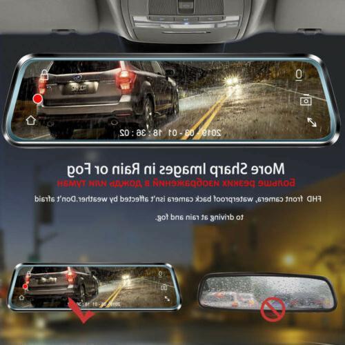"10"" 1080P Lens Car Dash Cam Recorder Rearview"