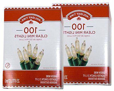 Holiday Time 100 Clear Mini Lights - Green Wire - Indoor/Out