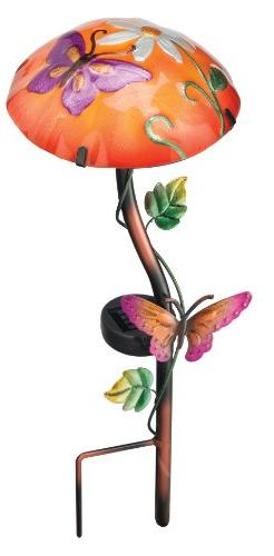 Regal Art & Gift 10341 Solar Mushroom Garden Stake, Butterfl