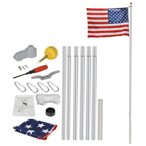 16/20/25ft Sectional Flagpole Aluminum  Kit Outdoor Halyard