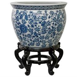 Oriental Furniture 16 Floral Blue & White Porcelain Fishbowl