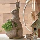 "NEW!~RAZ Imports~16"" Standing Resin Rabbit w/ Basket~Spring/"
